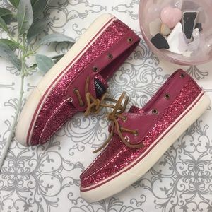 🌿Sperry Topsider Pink Sparkle Boat Shoe
